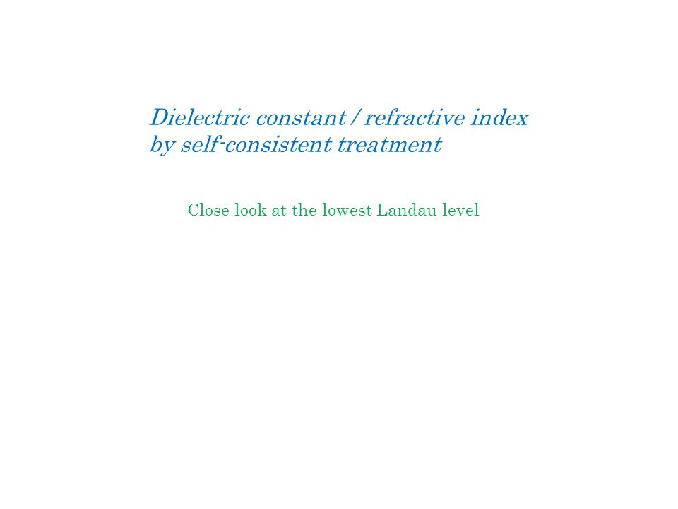 Dielectric constant / refractive index by self-consistent treatment Close look at the lowest Landau level