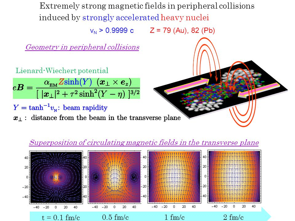 induced by strongly accelerated heavy nuclei Extremely strong magnetic fields in peripheral collisions v N > 0.9999 cZ = 79 (Au), 82 (Pb) t = 0.1 fm/c 0.5 fm/c1 fm/c2 fm/c Superposition of circulating magnetic fields in the transverse plane Geometry in peripheral collisions Lienard-Wiechert potential