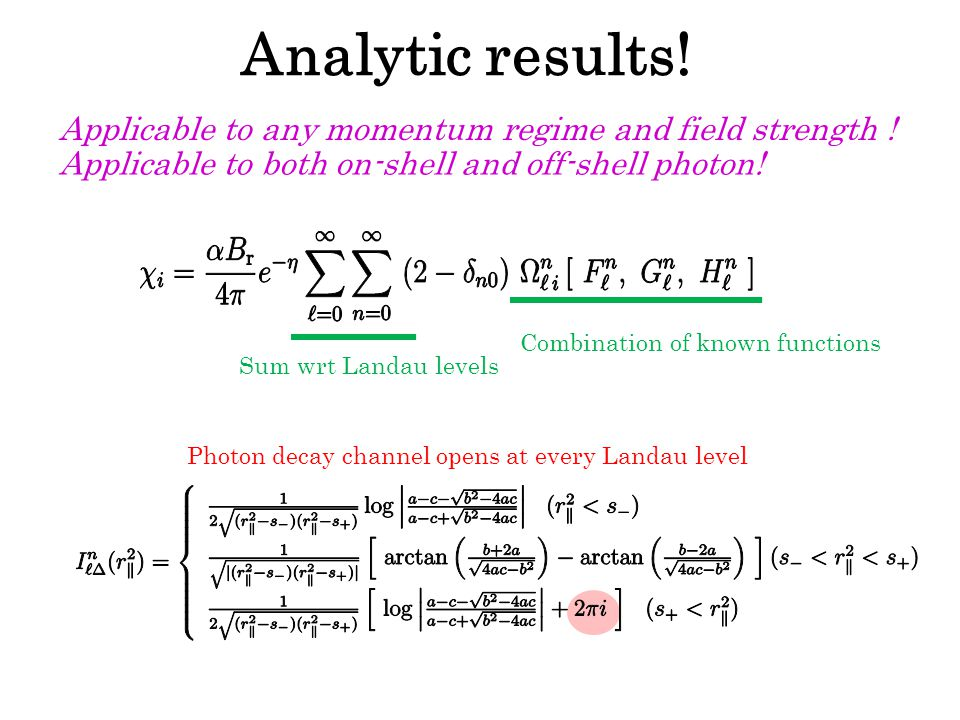 Photon decay channel opens at every Landau level Analytic results.