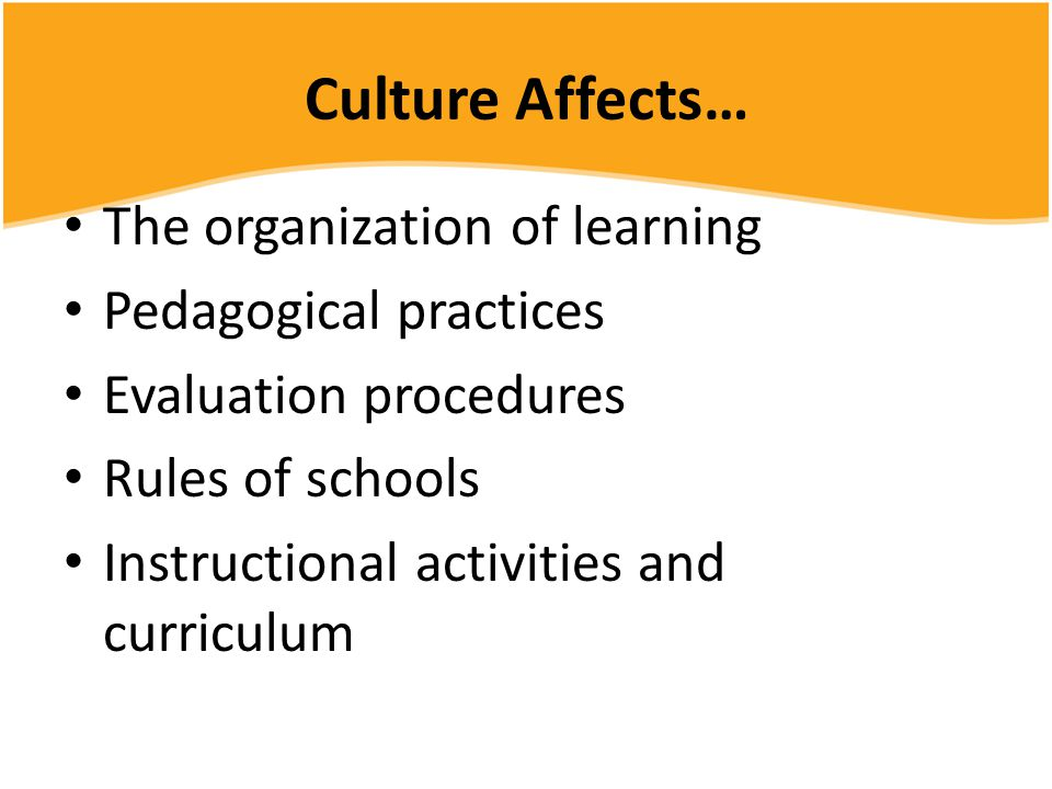 Culture Affects… The organization of learning Pedagogical practices Evaluation procedures Rules of schools Instructional activities and curriculum
