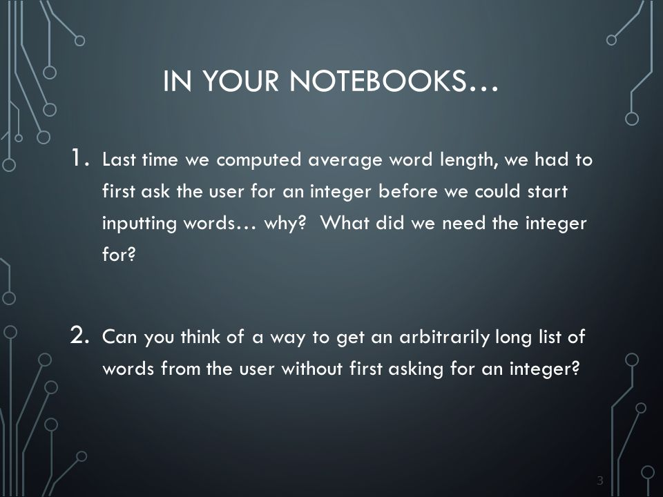 33 IN YOUR NOTEBOOKS… 1.