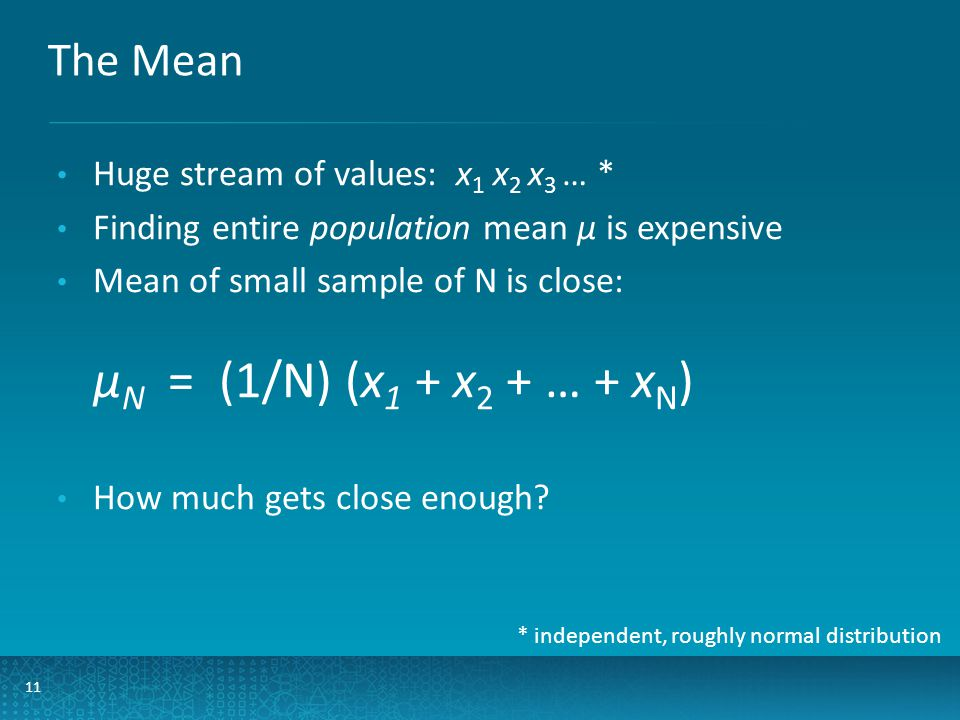 The Mean 11 Huge stream of values: x 1 x 2 x 3 … * Finding entire population mean µ is expensive Mean of small sample of N is close: µ N = (1/N) (x 1 + x 2 + … + x N ) How much gets close enough.