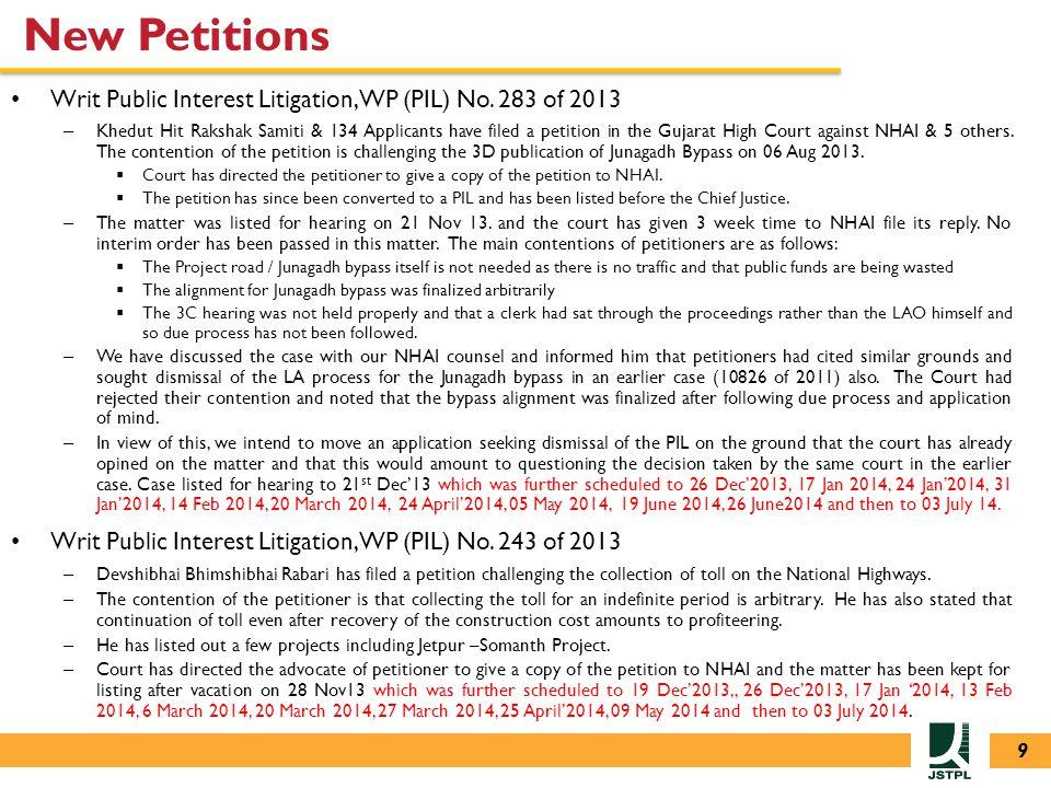 New Petitions Writ Public Interest Litigation, WP (PIL) No.