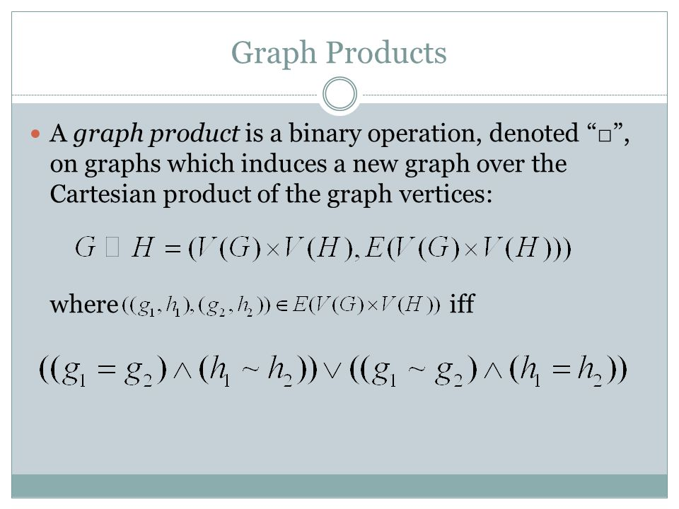 Graph Products A graph product is a binary operation, denoted □ , on graphs which induces a new graph over the Cartesian product of the graph vertices: where iff