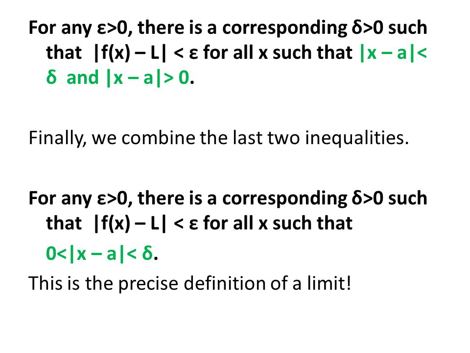 For any ε>0, there is a corresponding δ>0 such that |f(x) – L| 0.