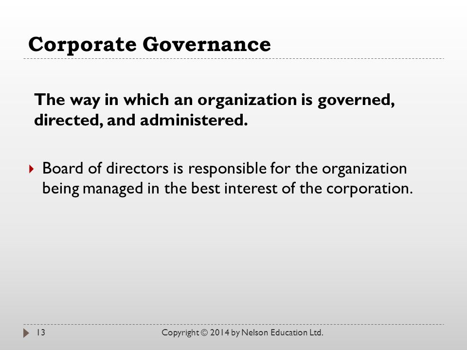 Corporate Governance The way in which an organization is governed, directed, and administered.