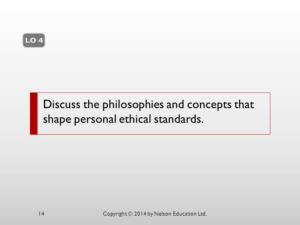 Discuss the philosophies and concepts that shape personal ethical standards.