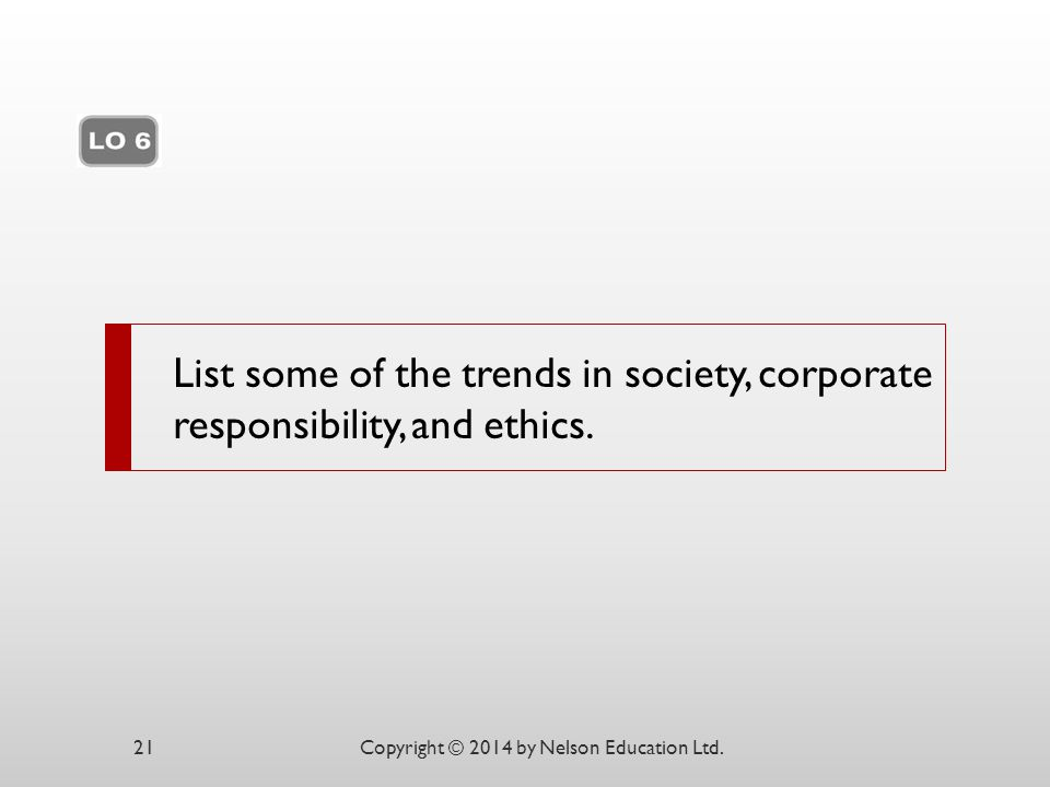List some of the trends in society, corporate responsibility, and ethics.