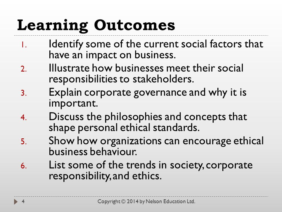 Learning Outcomes 1. Identify some of the current social factors that have an impact on business.