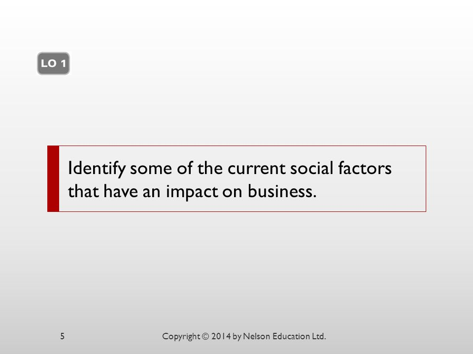 Identify some of the current social factors that have an impact on business.