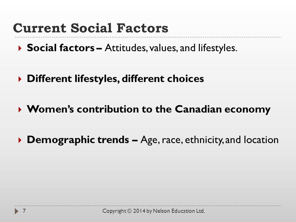 Current Social Factors Copyright © 2014 by Nelson Education Ltd.7  Social factors – Attitudes, values, and lifestyles.