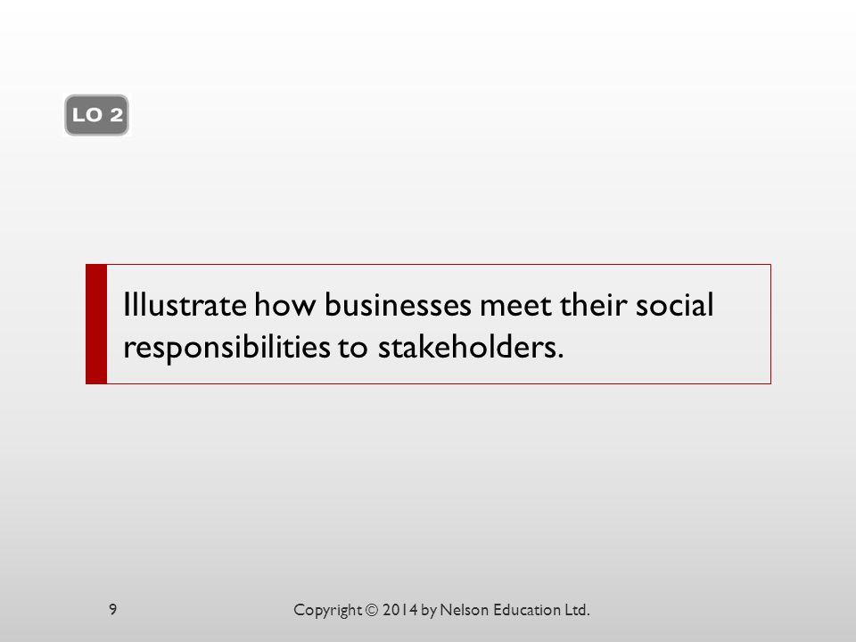 Illustrate how businesses meet their social responsibilities to stakeholders.