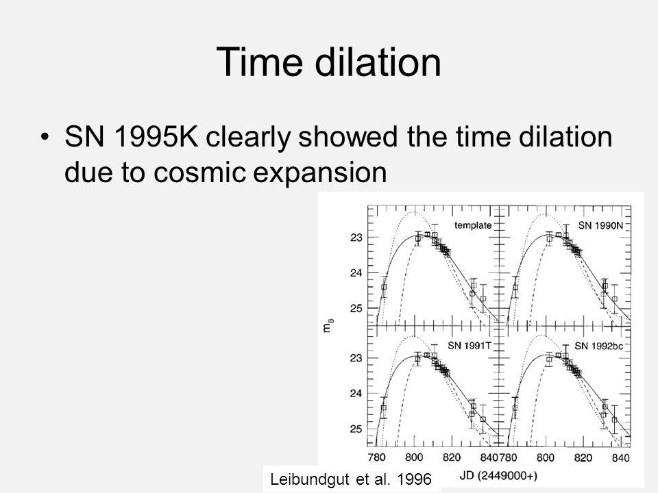 Time dilation SN 1995K clearly showed the time dilation due to cosmic expansion Leibundgut et al. 1996