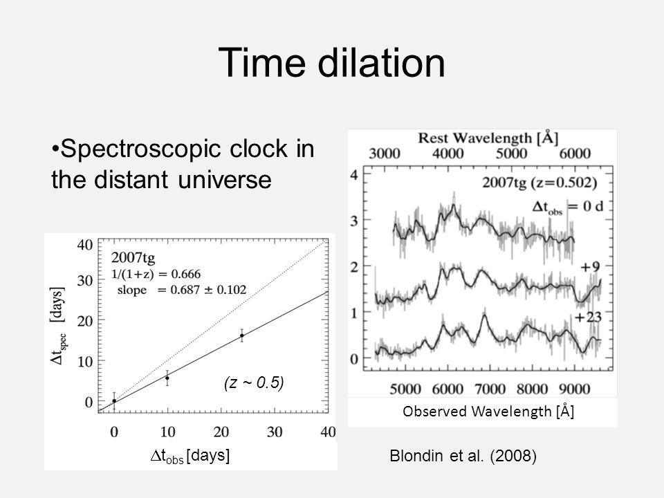 Time dilation Observed Wavelength [Å] Spectroscopic clock in the distant universe Blondin et al. (2008) (z ~ 0.5)  t obs [days]