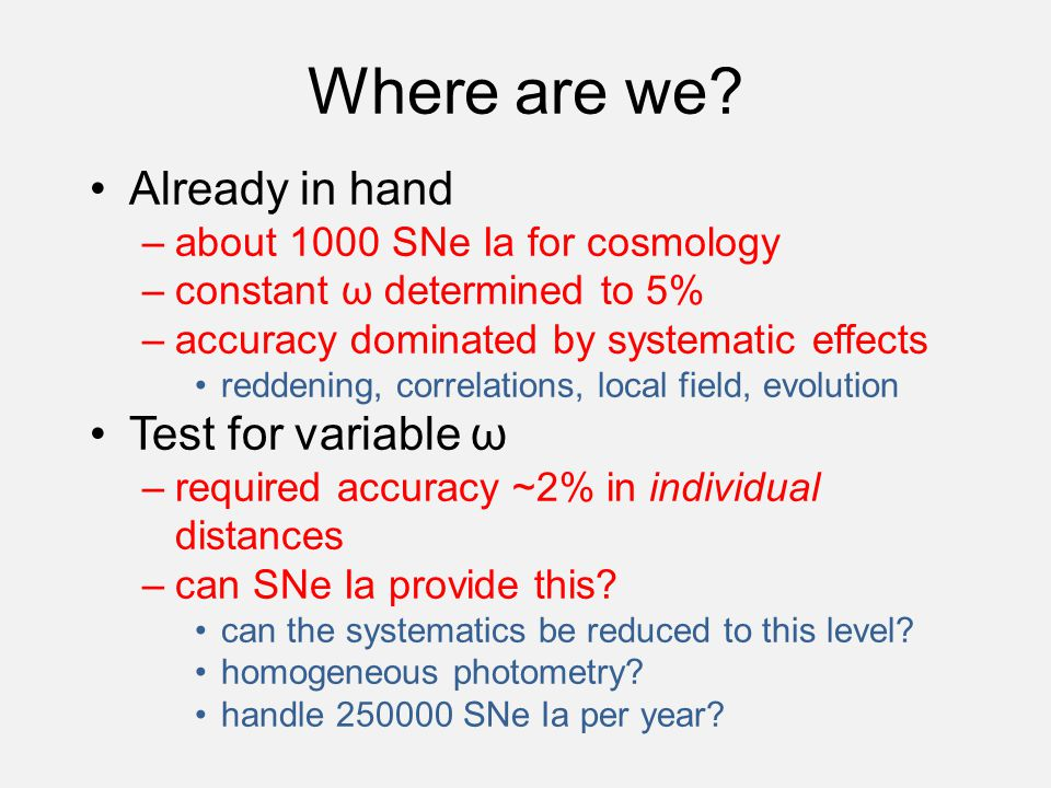 Where are we? Already in hand –about 1000 SNe Ia for cosmology –constant ω determined to 5% –accuracy dominated by systematic effects reddening, corre