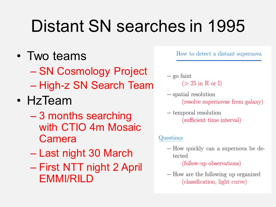 Distant SN searches in 1995 Two teams –SN Cosmology Project –High-z SN Search Team HzTeam –3 months searching with CTIO 4m Mosaic Camera –Last night 30 March –First NTT night 2 April EMMI/RILD
