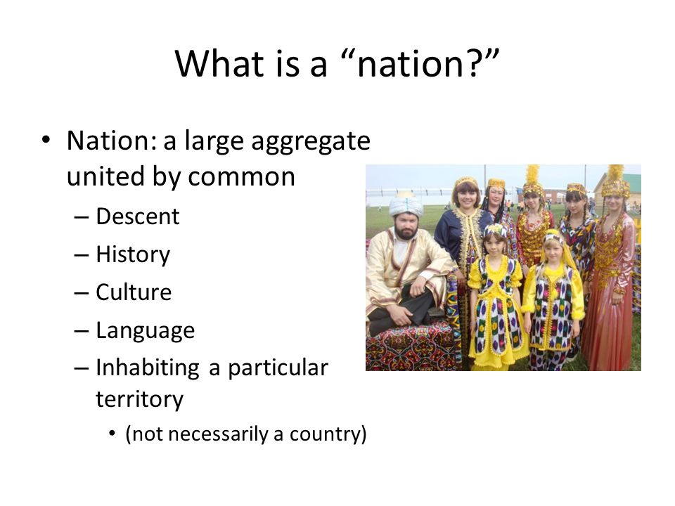 What is a nation? Nation: a large aggregate united by common – Descent – History – Culture – Language – Inhabiting a particular territory (not necessarily a country)