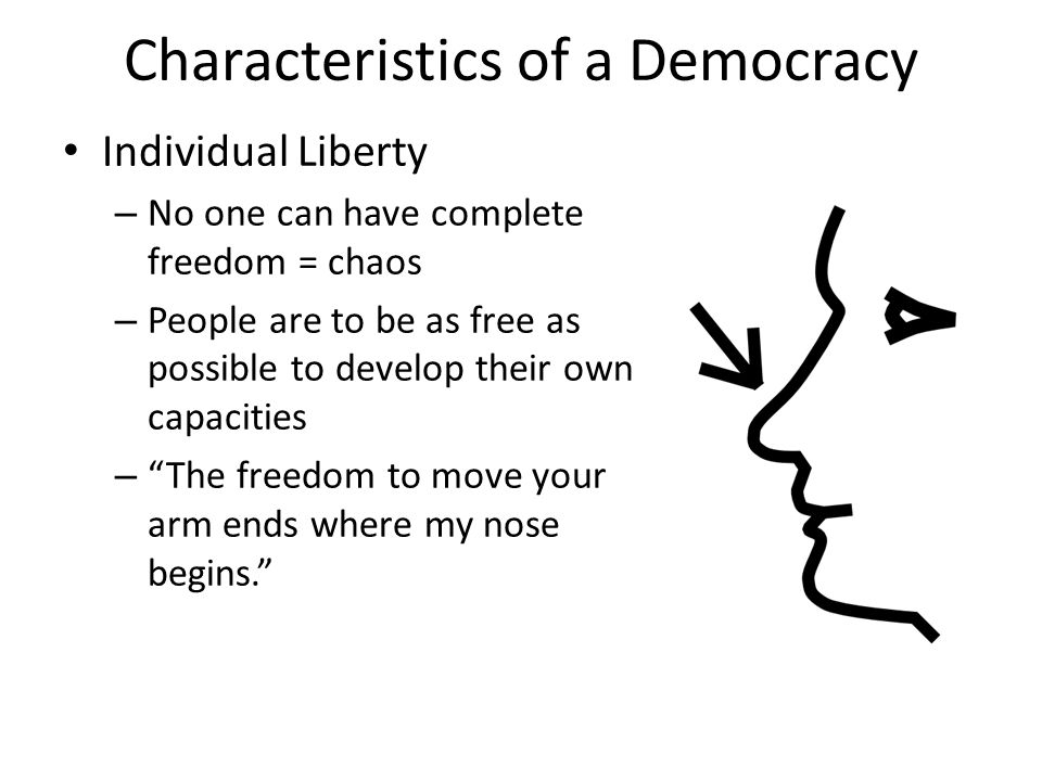 Characteristics of a Democracy Individual Liberty – No one can have complete freedom = chaos – People are to be as free as possible to develop their own capacities – The freedom to move your arm ends where my nose begins.