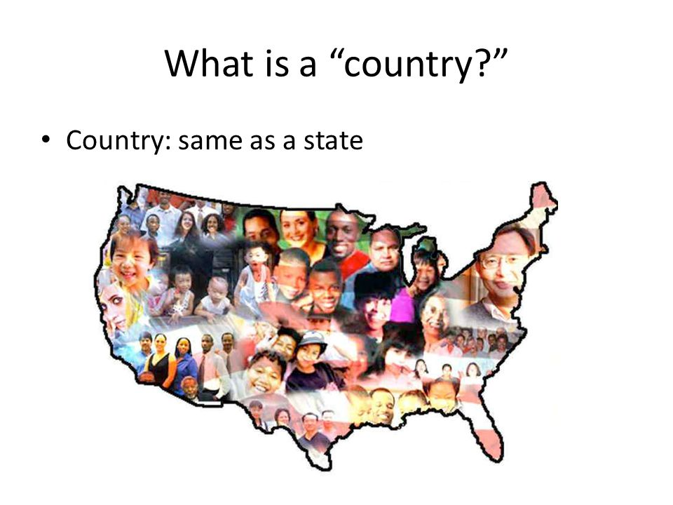 What is a country? Country: same as a state