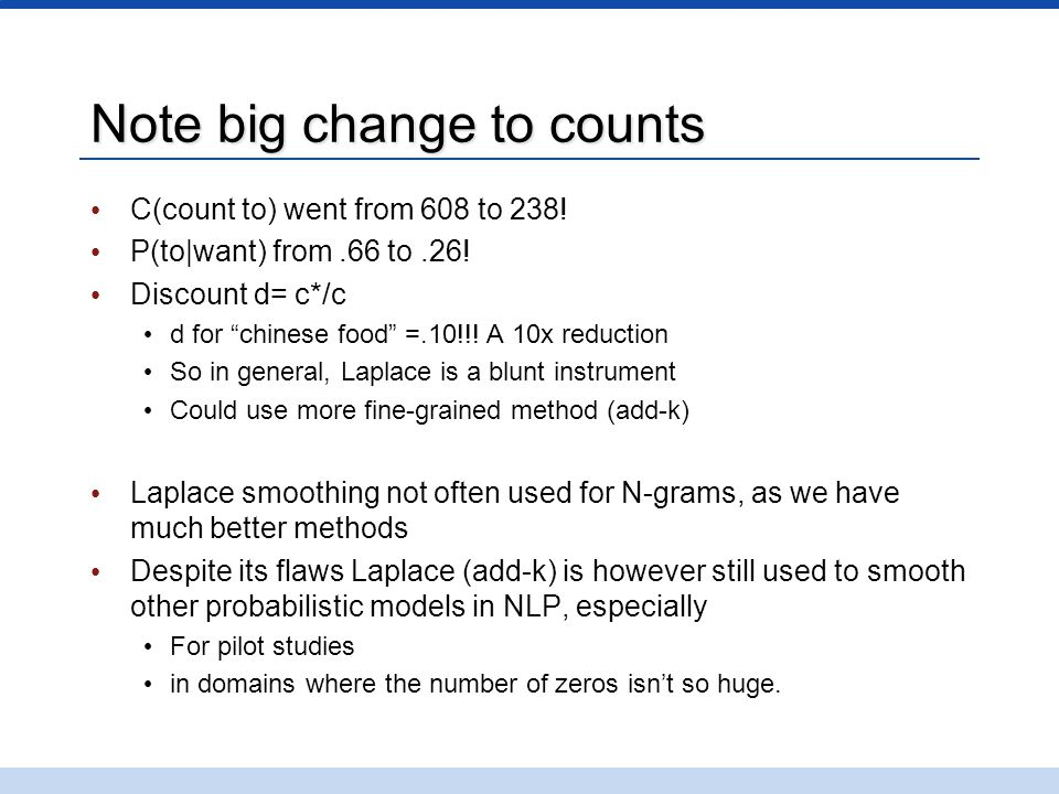 Note big change to counts C(count to) went from 608 to 238.