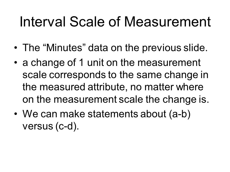 Interval Scale of Measurement The Minutes data on the previous slide.