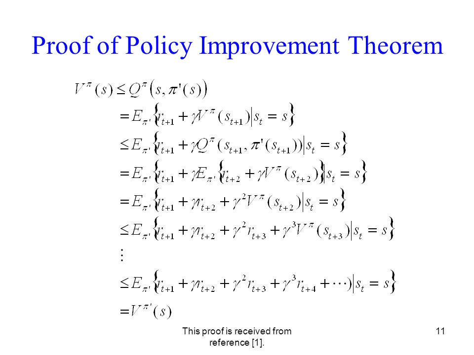 This proof is received from reference [1]. 11 Proof of Policy Improvement Theorem