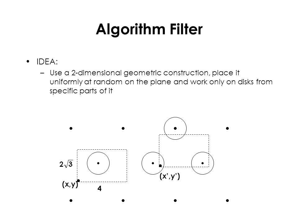 Algorithm Filter IDEA: –Use a 2-dimensional geometric construction, place it uniformly at random on the plane and work only on disks from specific par