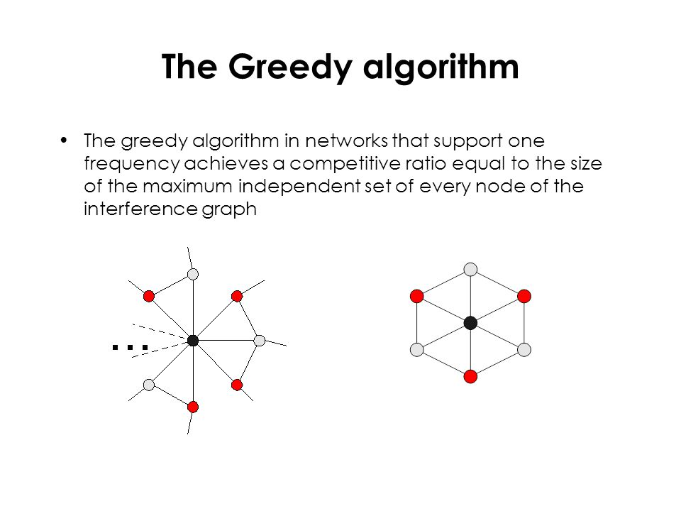 The Greedy algorithm The greedy algorithm in networks that support one frequency achieves a competitive ratio equal to the size of the maximum indepen