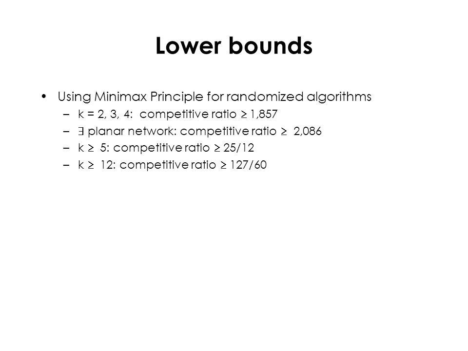 Lower bounds Using Minimax Principle for randomized algorithms –k = 2, 3, 4: competitive ratio  1,857 –  planar network: competitive ratio  2,086 –