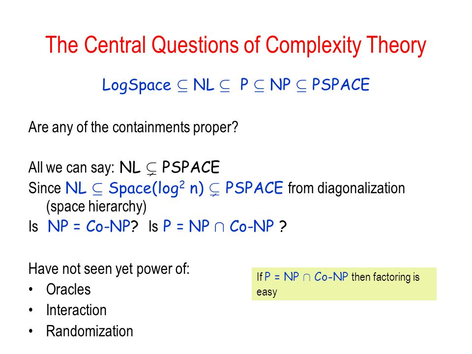 The Central Questions of Complexity Theory LogSpace µ NL µ P µ NP µ PSPACE Are any of the containments proper.