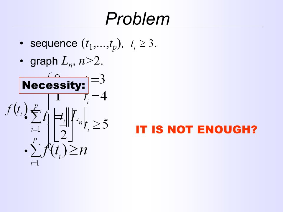 Problem sequence (t 1,...,t p ), graph L n, n>2. Necessity: IT IS NOT ENOUGH