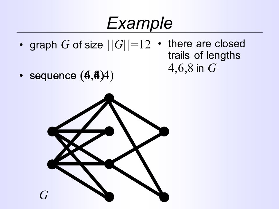 graph G of size ||G||=12 Example sequence (6,6) sequence (4,4,4) there are closed trails of lengths 4,6,8 in G G sequence (4,8)