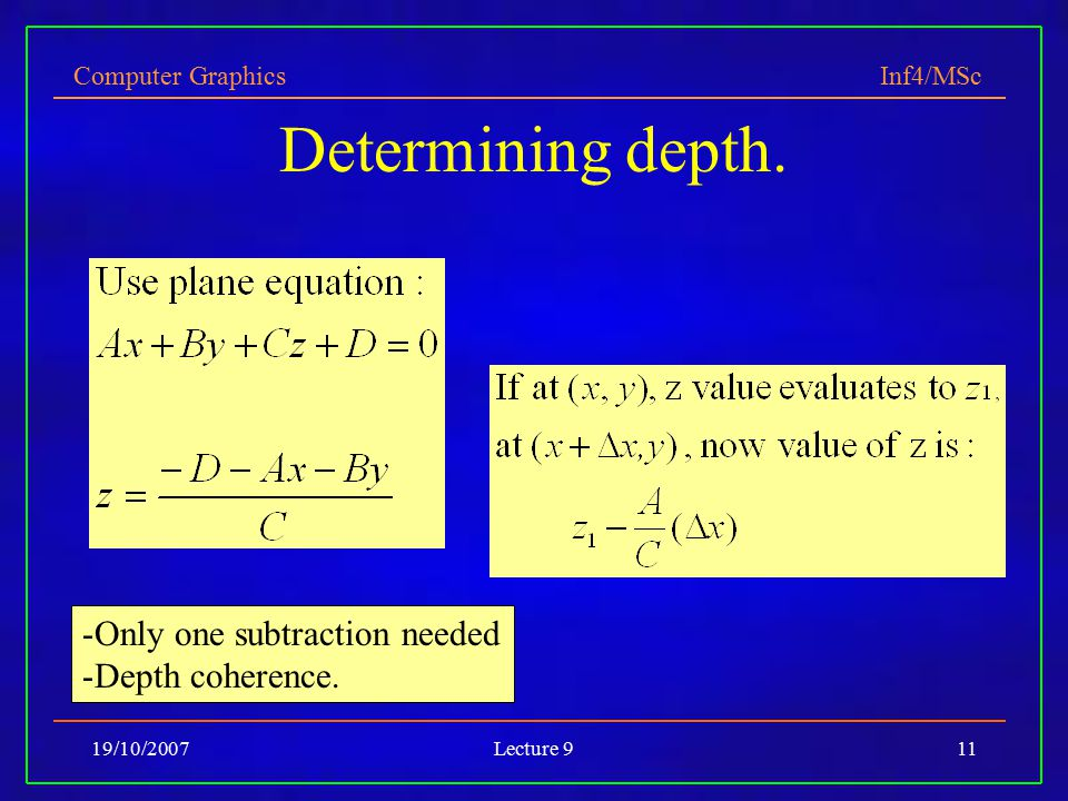 Computer Graphics Inf4/MSc 19/10/2007Lecture 911 Determining depth.
