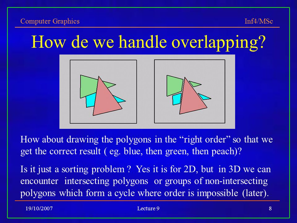 Computer Graphics Inf4/MSc 19/10/2007Lecture 98 How de we handle overlapping.