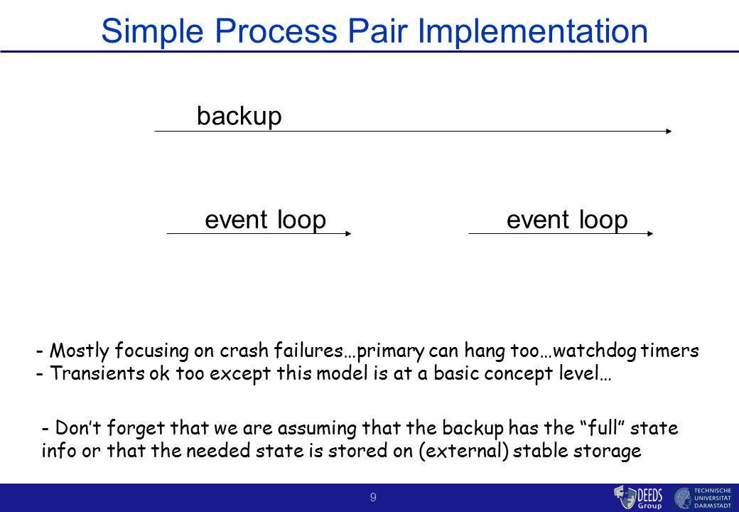 """9 Simple Process Pair Implementation backup event loop - Don't forget that we are assuming that the backup has the """"full"""" state info or that the neede"""
