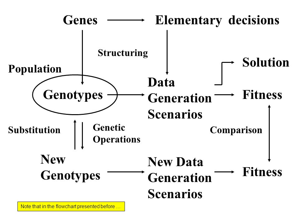 GenesElementary decisions Genotypes Data Generation Scenarios Fitness New Genotypes New Data Generation Scenarios Fitness Structuring Genetic Operations Substitution Population Comparison Solution Note that in the flowchart presented before …
