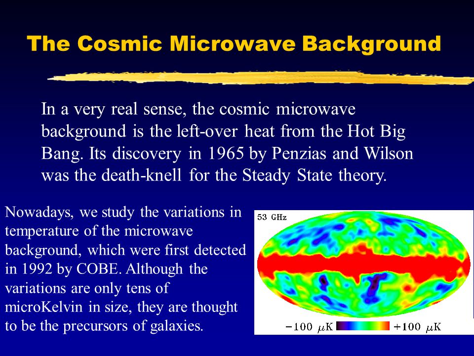 The Cosmic Microwave Background In a very real sense, the cosmic microwave background is the left-over heat from the Hot Big Bang.