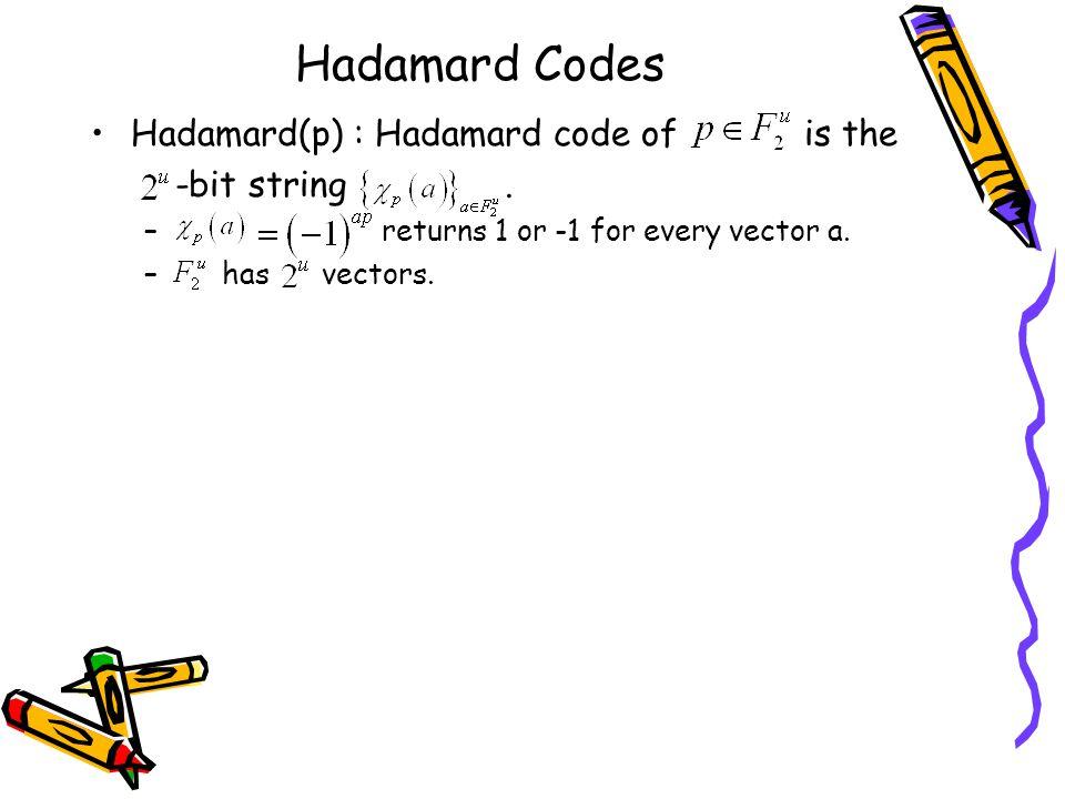Hadamard Codes Hadamard(p) : Hadamard code of is the -bit string.