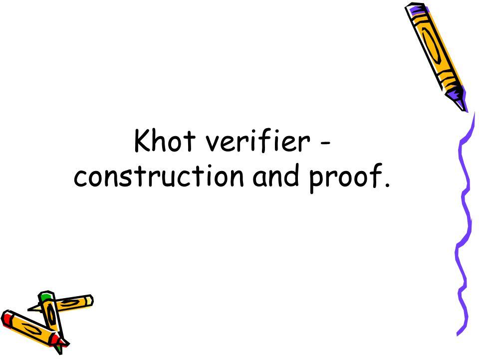 Khot verifier - construction and proof.