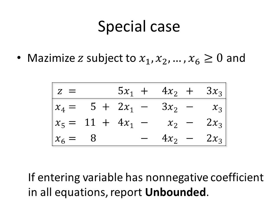 Special case If entering variable has nonnegative coefficient in all equations, report Unbounded.