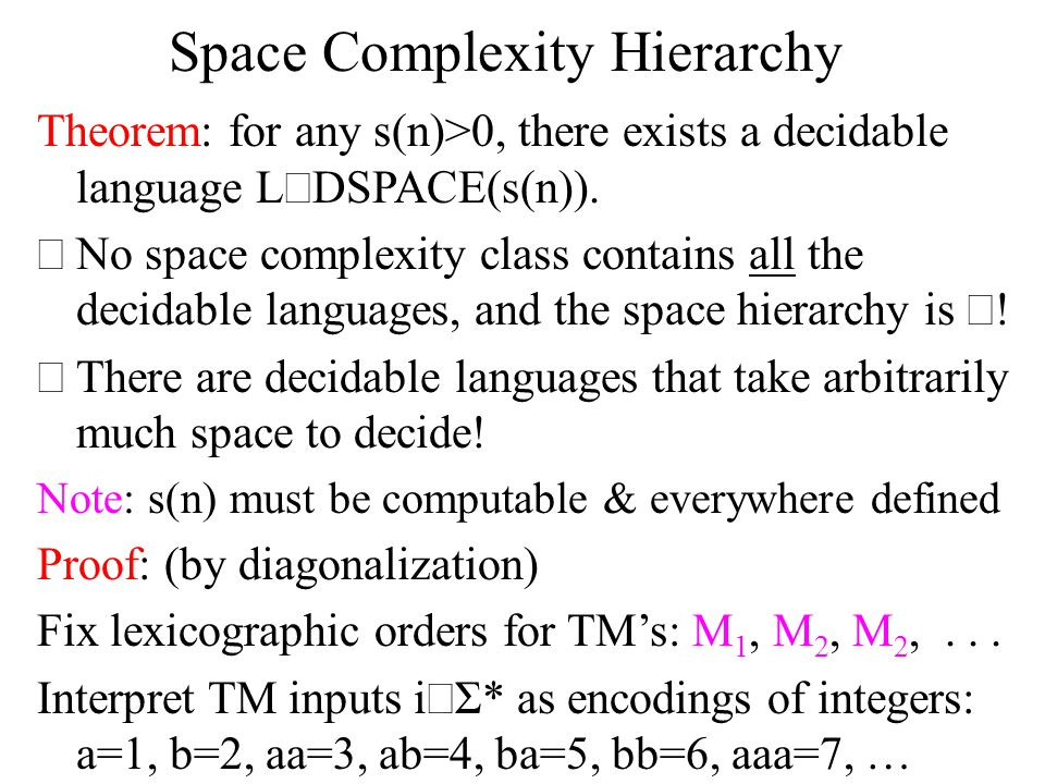 Space Complexity Hierarchy Theorem: for any s(n)>0, there exists a decidable language L  DSPACE(s(n)).