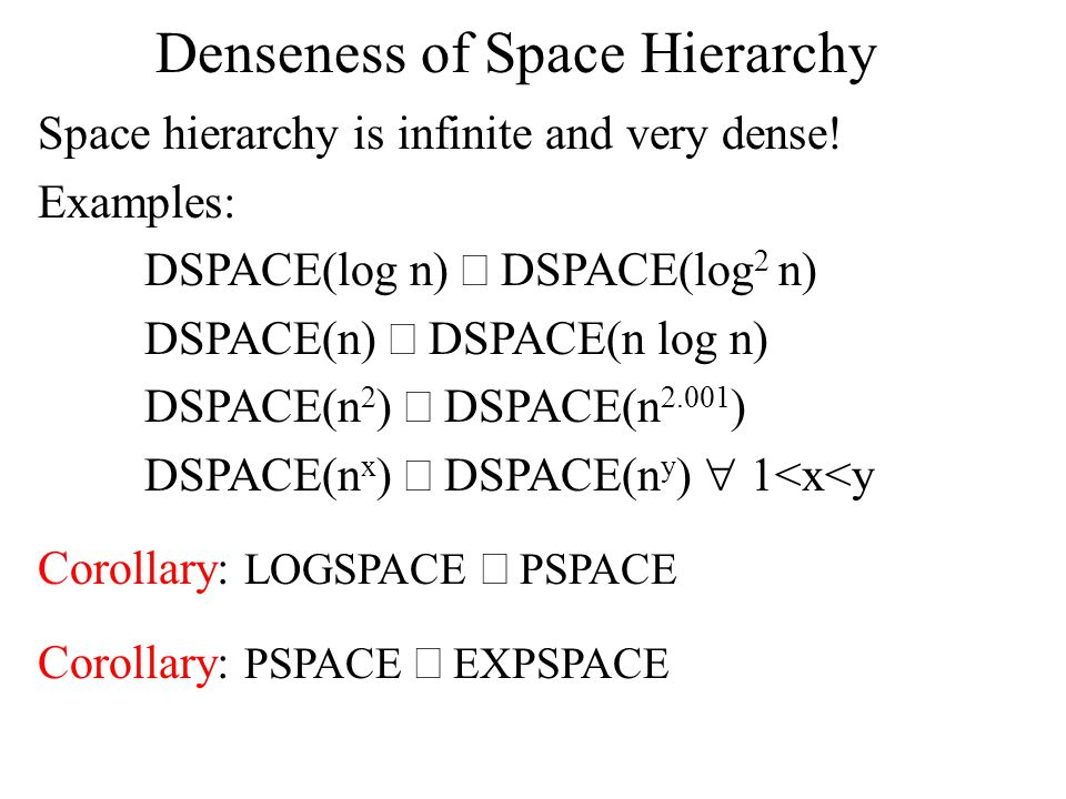 Denseness of Space Hierarchy Space hierarchy is infinite and very dense.