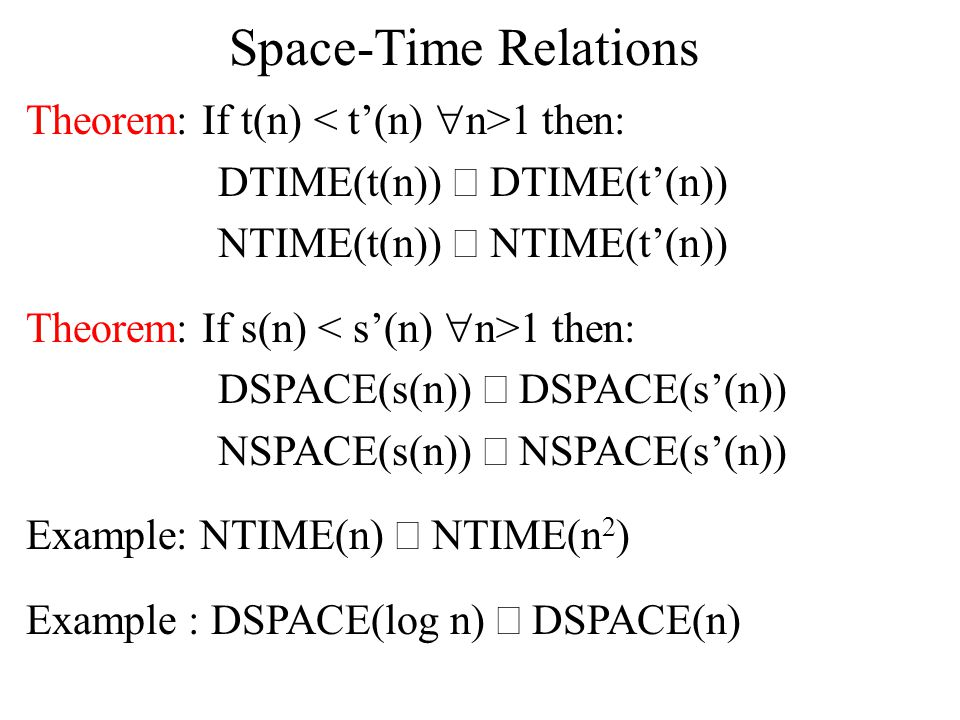Savitch's Theorem Corollary: NPSPACE = PSPACE Proof:NPSPACE =  NSPACE(n k ) k>1    DSPACE(n 2k ) k>1 =   DSPACE(n k ) k>1 = PSPACE i.e., polynomial space is invariant with respect to non-determinism.
