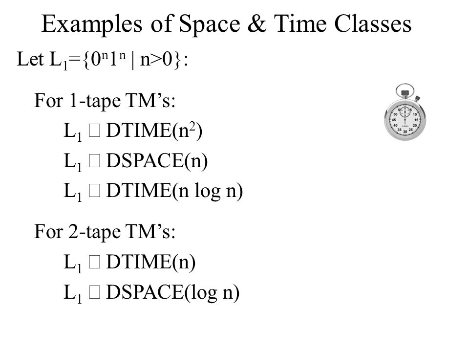 The First Complexity Gap The first space gap is between O(1) and O(log log n) Theorem: L  DSPACE(o(log log n))  L  DSPACE(O(1))  L is regular.