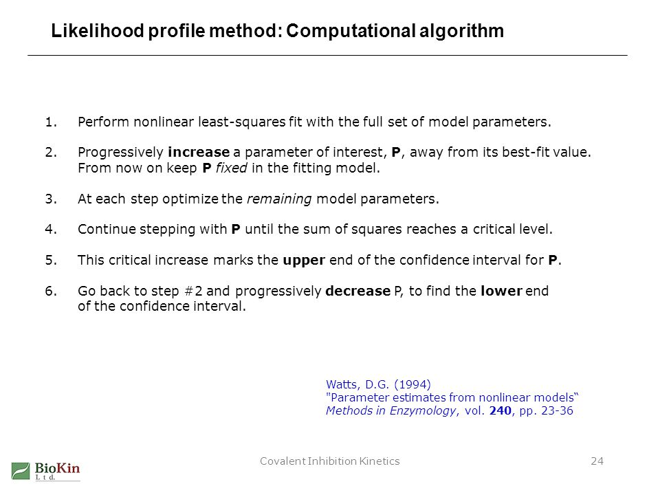 Covalent Inhibition Kinetics24 Likelihood profile method: Computational algorithm 1.Perform nonlinear least-squares fit with the full set of model par