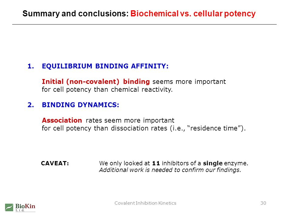 Covalent Inhibition Kinetics30 Summary and conclusions: Biochemical vs. cellular potency 1.EQUILIBRIUM BINDING AFFINITY: Initial (non-covalent) bindin