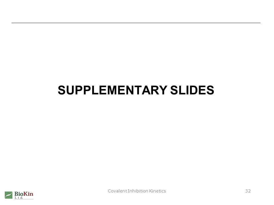 Covalent Inhibition Kinetics32 SUPPLEMENTARY SLIDES