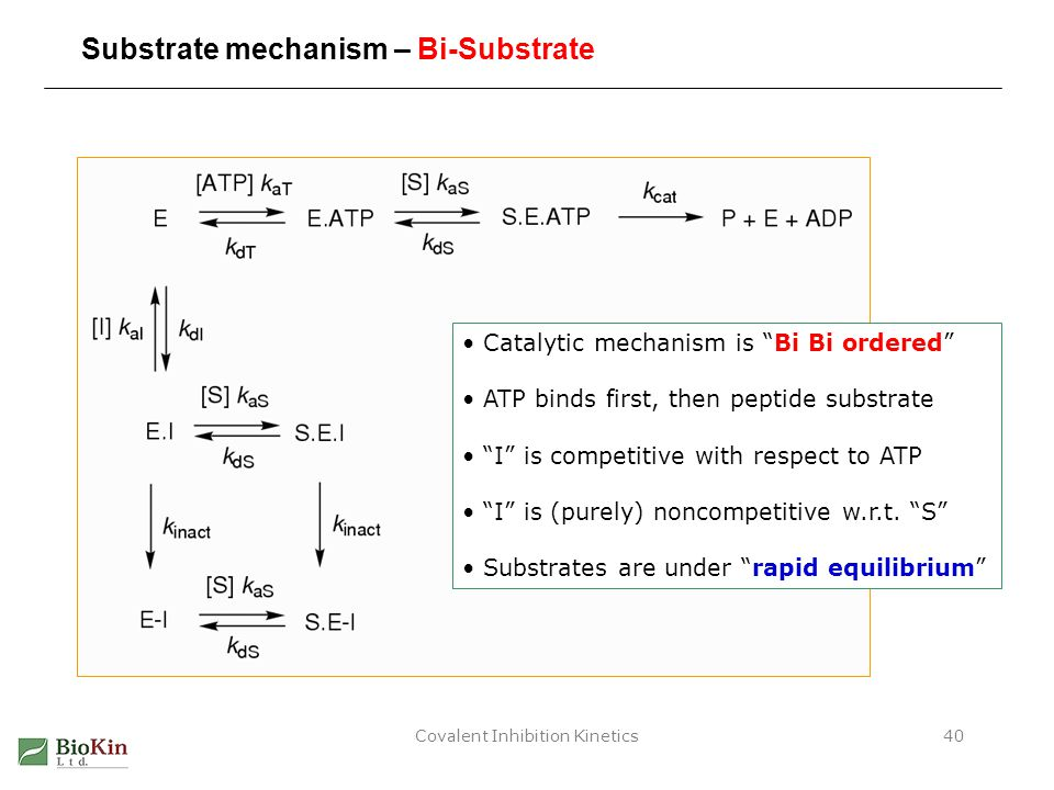 "Covalent Inhibition Kinetics40 Substrate mechanism – Bi-Substrate Catalytic mechanism is ""Bi Bi ordered"" ATP binds first, then peptide substrate ""I"" i"