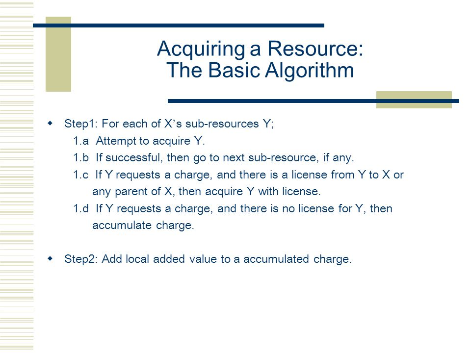 Acquiring a Resource: The Basic Algorithm  Step1: For each of X ' s sub-resources Y; 1.a Attempt to acquire Y. 1.b If successful, then go to next sub