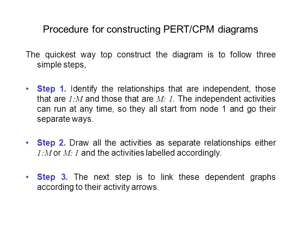 Procedure for constructing PERT/CPM diagrams The quickest way top construct the diagram is to follow three simple steps, Step 1.